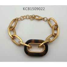Metal Plated Bracelet with Tortoise Leopard