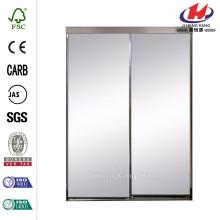 48 in. x 80 in. Trim Line Beveled Mirror Bright Clear Finish Aluminum Interior Sliding Door