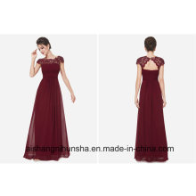 Empire Lace Pleat Party Gown Mariage Long Evening Dress