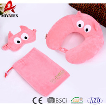 2018 Fashion embroidered design solid color travel neck pillow with eye patch
