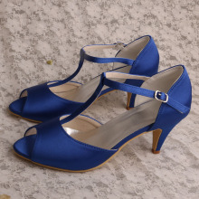 Mid+Heel+Court+Shoes+for+Women+Blue+Satin