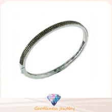 Buena calidad joyería 3A blanco CZ 925 brazalete de plata (g41277c)