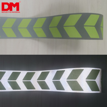 Special Custom silk screen arrow Logo Printed Reflective Check fabric Tape for Garment