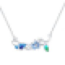 La mode des femmes en argent sterling papillon fleur laisse collier pendentif en cristal