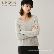 Woman Latest Wearing in Both Ways Pure Cashmere Pullover Special Yarn Knitwear
