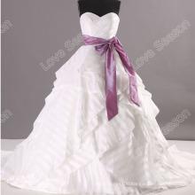 LS0115 Unique style ball gown lace up corset back rhinestone appliques belt sash china wedding dress white ruffles wedding dress