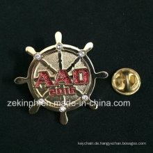 Strass Runde Design Metal Pin Abzeichen für die Tasche