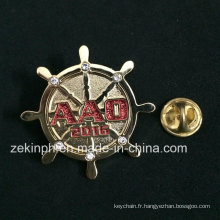 Insignes de broche en métal de conception ronde de fausse pierre pour le sac