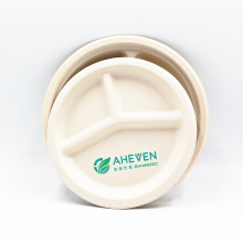 Good Quality Biodegradable Disposable Sugarcane Bagasse Round Plates 3 Compartment