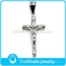 2015 Christ Simple Stainless Steel Cross High Quality Casting Silver Jesus Piece Pendant Chirstmas Gift For men