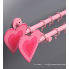 Heart Shape Pink Finial Double Pole Kids Curtain Rod
