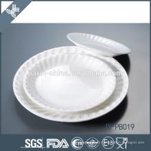 pate de dîner de gaufrage rond simple avec toute la taille, plat de porcelaine d'hôtel