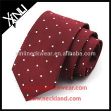 Nudo perfecto 100% hecho a mano de seda tejida flaca para hombre Polka Dot Formal Ties