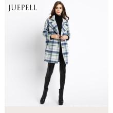 2016 neue Wemen Fashion Design hochwertiger Wollmantel lange Wolle Viskose Polyester Mantel Fabrik Großhandelspreis OEM-Jacke in Guangzhou