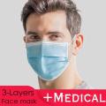 Máscara médica de 3 dobras em azul 50pcs / Box