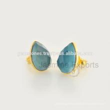 Handmade Vermeil Gold Natural Gemstone Bezel Stud Earring Jewelry Wholesale Gemstone Bezel Jewelry Manufacturer