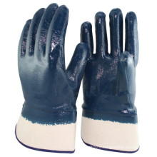 NMSAFETY Nitrile Rubber Fully Coated Gloves with NITRILE Safety Cuffs, Smooth, Blue/White