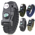 Pulsera de supervivencia Whistle Flint Compass Paracord
