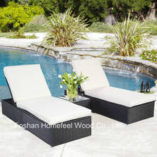 3 Piece Patio Wicker Rattan Chaise Lounge Chair Set