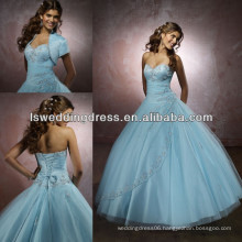 HQ2002 2014 designer light blue remove beaded short jacket diamond tulle lace up ball gown cheap tulle satin quinceanera gowns