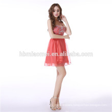 Ladies Bridal Short Red Beaded Party Wear Halter Backless Wedding Dress Evening
