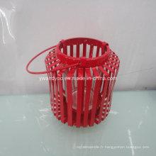 Bougeoir en métal rouge décor à la maison