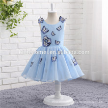 La première robe de communion sans manches robe de papillon de couleur bleue Flower Girl Dress