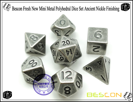 Bescon Fresh New Mini Metal Polyhedral Dice Set Ancient Nickle Finishing-4