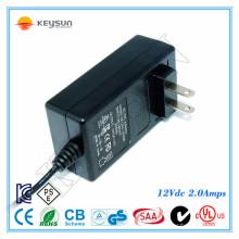 Bateria recarregável pequena de 12v 2A 24watt dc adaptador 100-240v 50-60hz