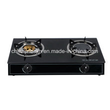 2 quemadores de vidrio templado superior de latón y gas infrarrojo cocina / estufa de gas