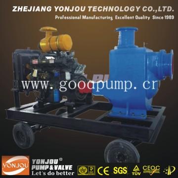 Bomba de remolque con motor diesel / Diesel autocebante No obstruye el conjunto de bombeo de aguas residuales / bomba de manguera / conjunto de bomba de agua