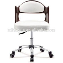 White genuine Leather boss chair office chair dining chair with chrome base