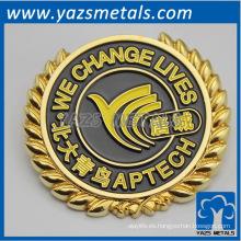 insignias de plata del oro / de la galjanoplastia del metal de encargo, con diseño