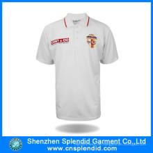 Benutzerdefinierte Kurzarm-Stickerei Weiß Polo-Shirt für Männer