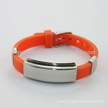 Wholesale silicone id bracelets with stainless steel plates