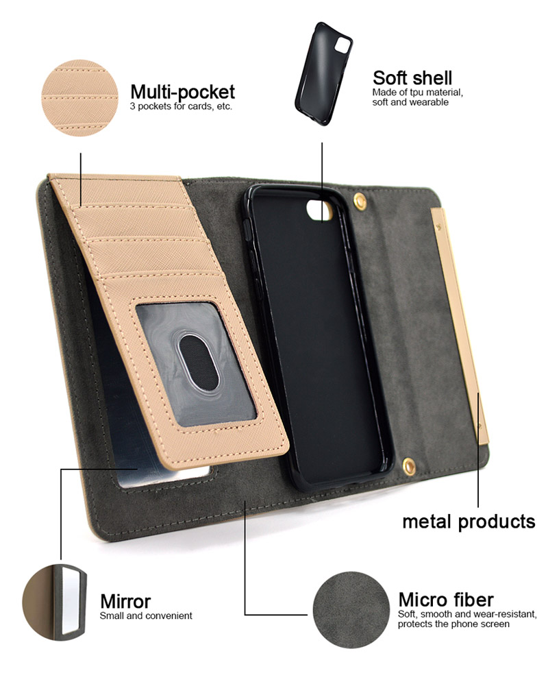 Mobile Cell Phone Stand Leather Mirror Flip Case