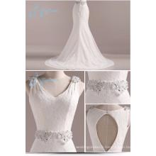 Mermaid Crystal Pearls Beading Lace Satin White Dress Wedding