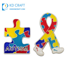 Wholesale customised cheap metal stamping cancer awareness pins hard enamel custom autism lapel pin for promotional gift