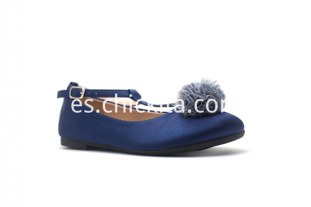 Ankle Satin With PomPon Gilrs Ballerinas Shoes