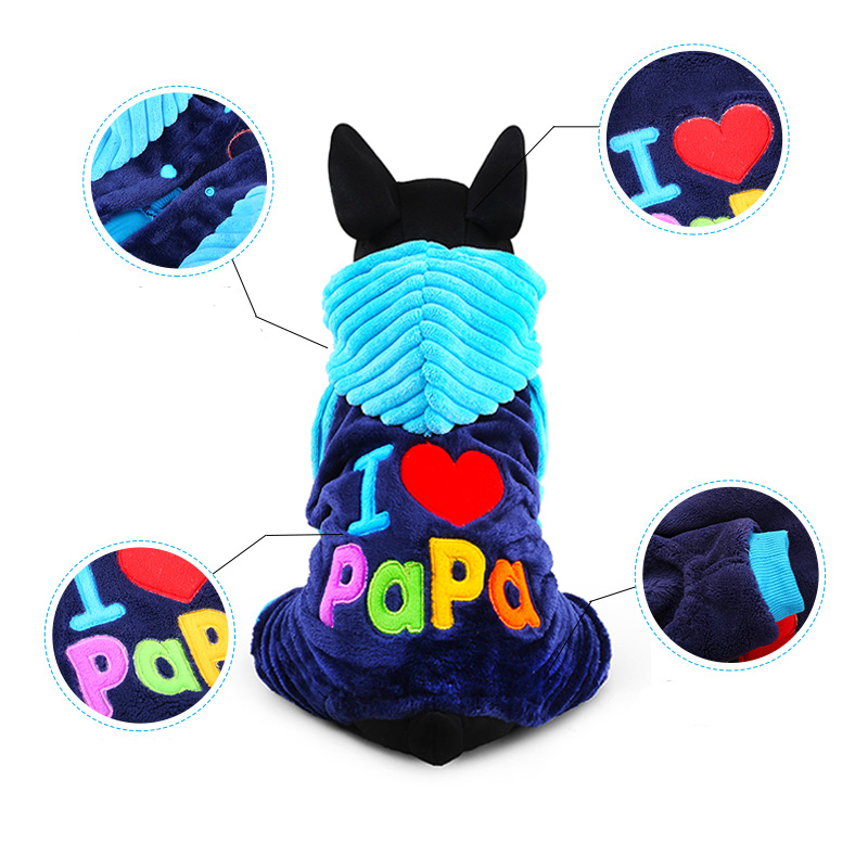 2017 Petcircle Fashion I Love Papa And Mama Winter Pet Dog Clothes Clothing For Pet Small