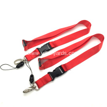 Red Mobile Phone Plain Nylon Lanyard