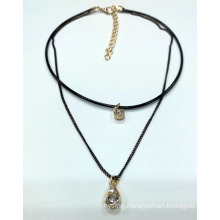 Double Chain Necklace Choker with Charm with Stones