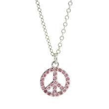 Bijoux en alliage personnalisé Argent Rinestone Collier pendentif symbole de paix