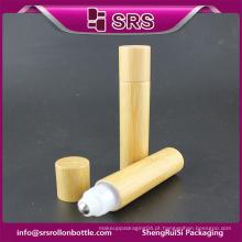 Hot venda plástico garrafa de óleo essencial e 20ml rolo de bambu em garrafas com bola de metal