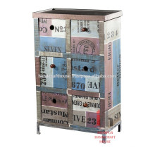 Recycled wood 6 drawers tall living room furniture cabinet