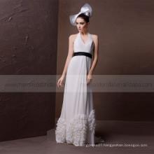 Comely hang neck A -line Bottom ruffle wedding dress with black sash