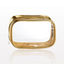 2020 Luxury Clearly Gold Metallic Cosmetic Bags.clear mini makeup bags pouch