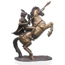 soldado de bronze de alta qualidade e estátua de cavalo