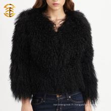 Factory Direct Supply Noir Tricoté Tibetan Girls Real Manteau de fourrure pour les femmes