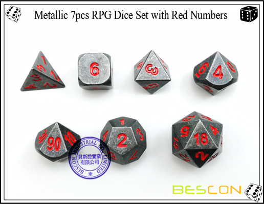 Metallic 7pcs RPG Dice Set with Red Numbers-3